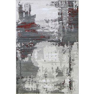 Picture of Abstract Gray Rug with Red Stripes