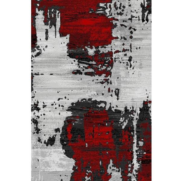 Picture Of Abstract Area Rug In Bold Red