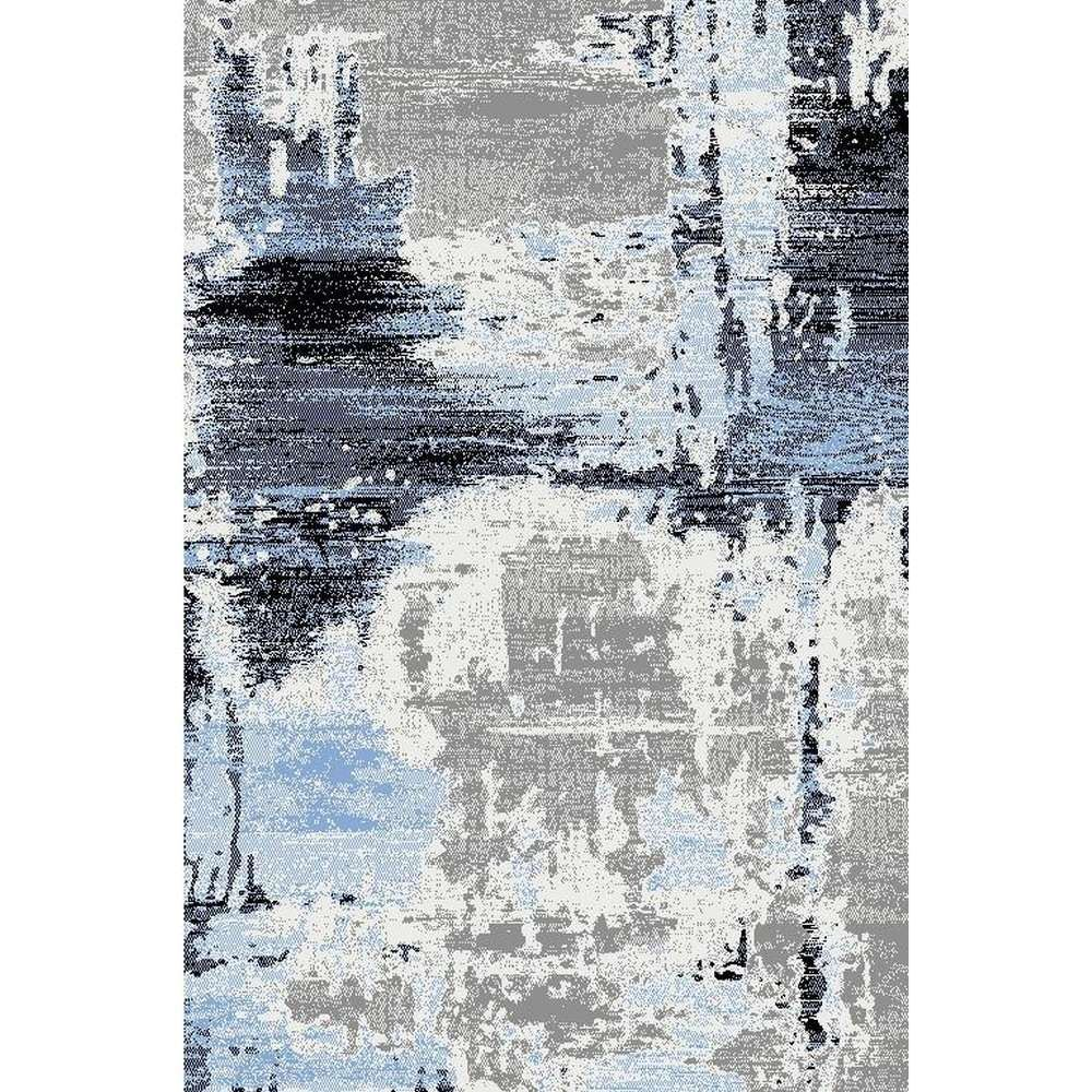 Abstract Rug In Blue And Gray Gray Contemporary Rug
