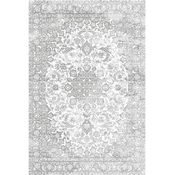 Distressed Medallion Rug In Light Gray Distressed
