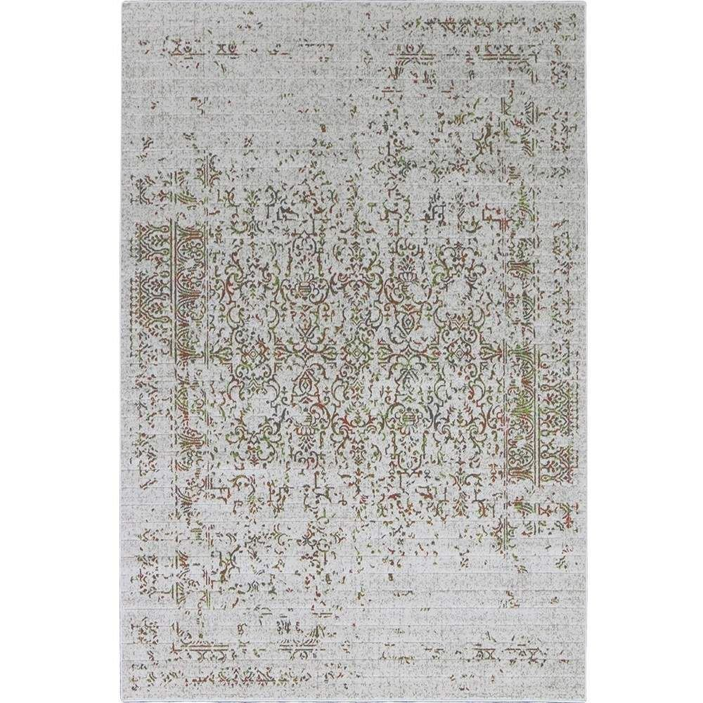 Distressed Turkish Green Orange Rug Vintage Traditional