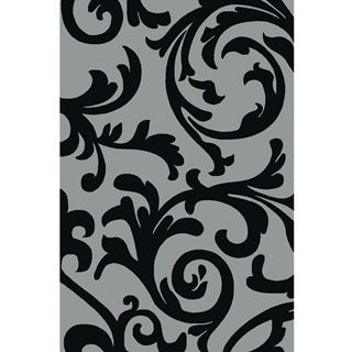 Floral-Vine-Patterned-Gray-Rug