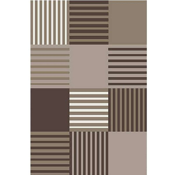 Geometric-Checker-Brown-Rug