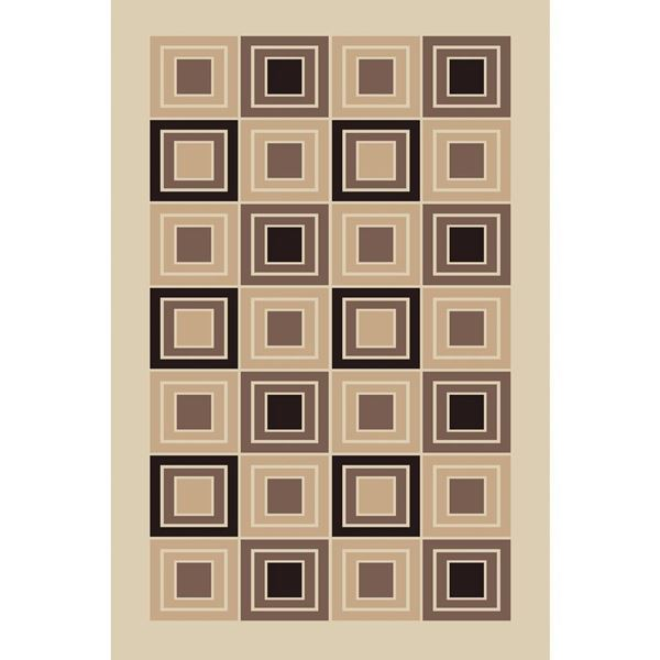 Geometric-Squares-Brown-Rug