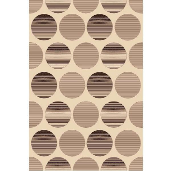 Geometric-Striped-Circles-Brown-Rug