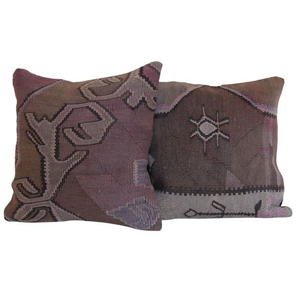 Pair-Purple-Kilim-Rug-Pillow 1