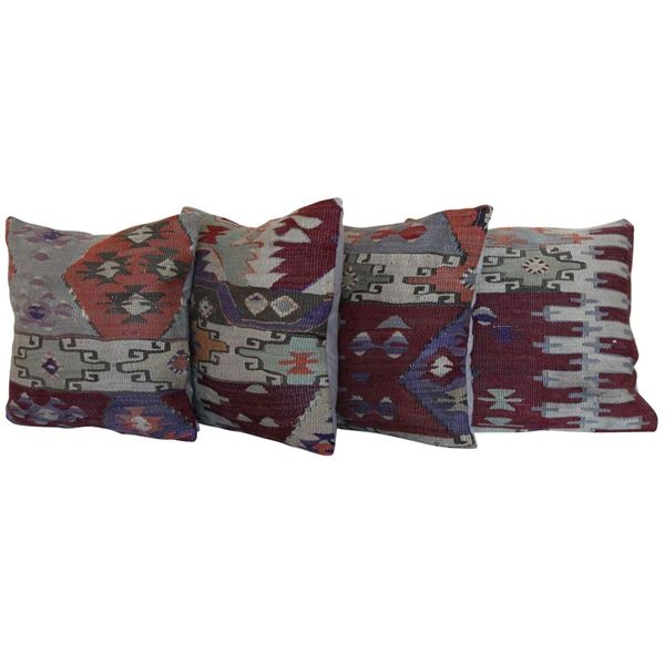 decorative-vintage-wool-kilim-rug-pillows-set-of-4 1
