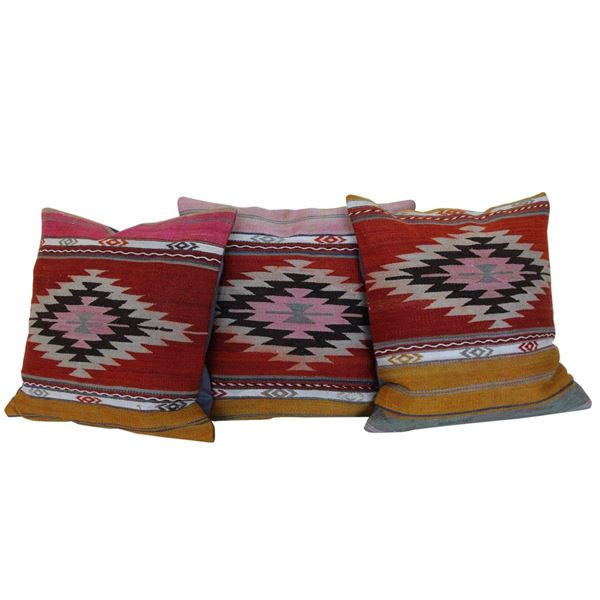 18'' Diamond Kilim Rug Pillows Set-of-3