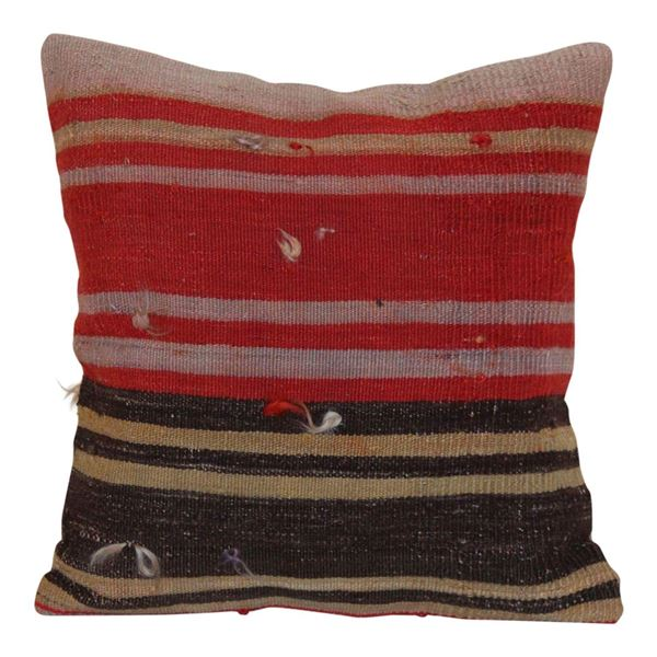 16'' Vintage-Red-Striped-Kilim-Pillow 1