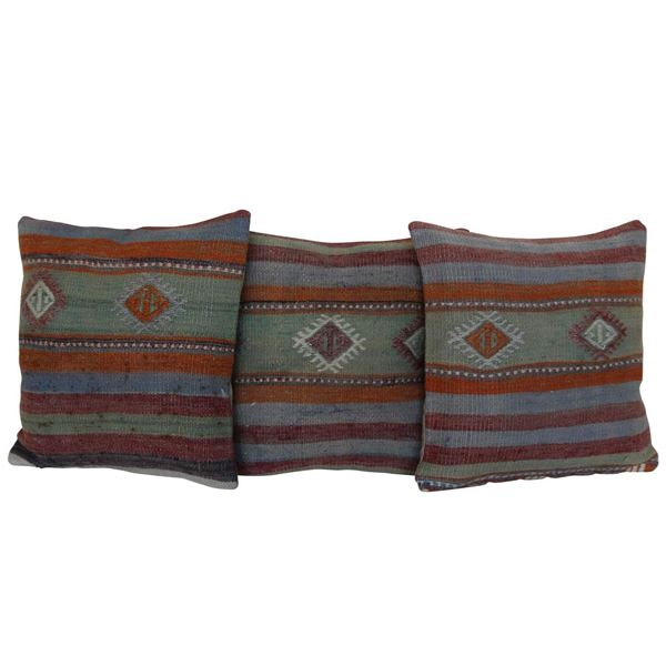 Antique-Kilim-Rug-Pillows-Set of 3 1