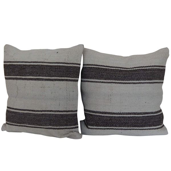 Simple-Striped-Kilim-Pillows A Pair 1
