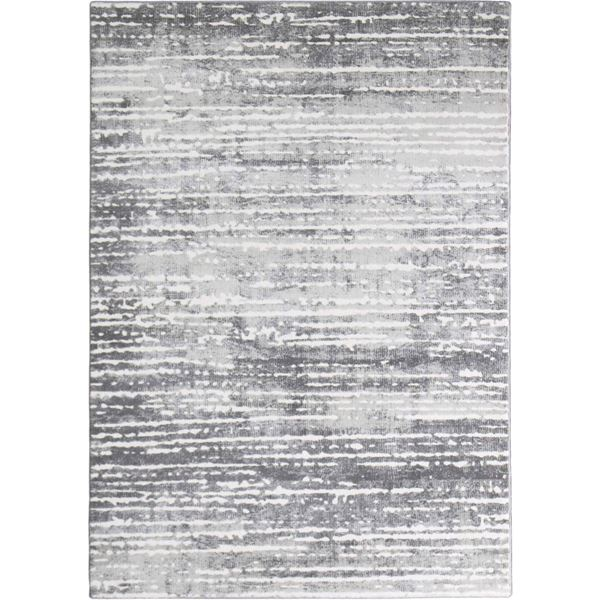 Textured Gray Striped Rug