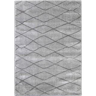 Soft Plush Gray Lattice Rug